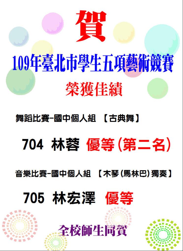109年學生五項藝術比賽得獎
