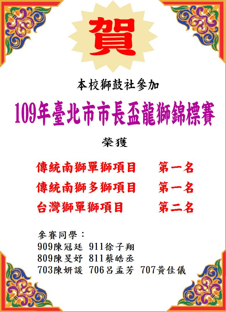 109市長盃獅鼓社